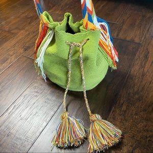 Boho Festival Fringe Drawstring Bucket Bag
